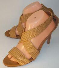 H&M Wos Open Toe High Heels EU42 US10 Brown Woven Criss-Cross Vegan Dress Shoes