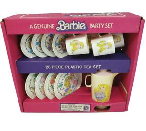VINTAGE 1983 MATTEL BARBIE DOLL PARTY TEA SET PLASTIC CHILTON GLOBE PLATES CUPS