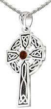 1.5in 925 Plata de Ley Irlandés Nudo Celta Granate Nacimiento Colgante Collar