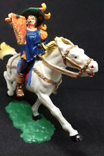 ELASTOLIN héraut médieval en costume d'apparat sur son cheval au galop
