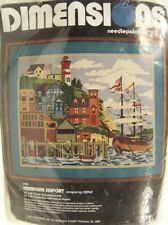 Dimensions Needlepoint Kit Americana Seaport #2108 Rare Brand New in Pkg