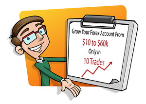 forex account growth plan to grow 10 dollars to 60k in 10 trades only
