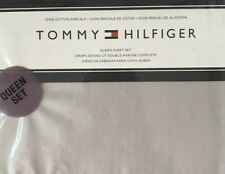 NEW!  TOMMY HILFIGER   QUEEN SHEET SET   GRAY  100%  COTTON PERCALE
