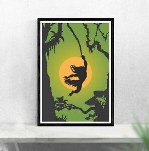 Tarzan wall art - inspired minimalist movie poster - Tarzan animal kingdom print
