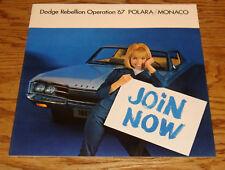 Original 1967 Dodge Monaco & Polara Deluxe Sales Brochure 67 500