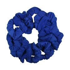 Twelve Soft Cotton Scrunchies Stretchy Royal Blue Hair Twisters Ponytail Holder