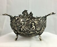 J.D Schleissner & Sohne Hanau Germany Silver Repousse figural footed bowl c1900