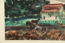Carl Zimmerman Watercolor Painting of Farm Scene-Matted & Wrapped in Acetate
