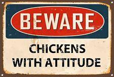 Beware Chickens With Attitude Metal Sign Vintage Home Wall Door Plaque 1283