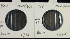 2 x Duit Niederlande East Indies VOC 1745 + 1746   jeweils im Münzrahmen