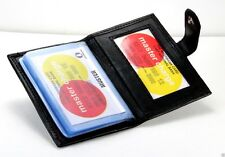 Black Genuine Leather Business Card Inserts ID Wallet Mini Pocket Organizer