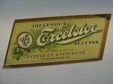 Excelsior Success Beer label Excelsior Brewing Co. Cleveland Oh pre pro