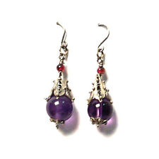 AMETHYST BEAD SILVER DANGLING EARRINGS