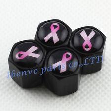 Black Styling Metal Car Wheel Tyre Tire Stem Air Valve Cap For Pink Ribbon Style