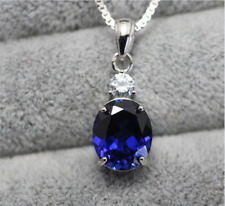 Top Quality Oval Blue sapphire pendant necklace fashion sterling silver pendant