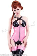 X0198 Rubber Latex Westward Bound Corset with suspenders 8 PS GOLD/VIB PINK