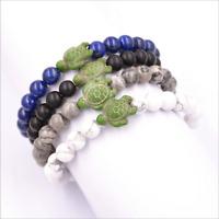 Women Turquoise Stone Beads Ball Turtle Charm Bracelet Gift Cuff Jewelry