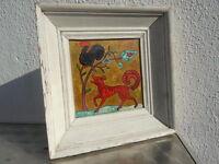 Tableau huile sur panneau les fables de la Fontaine signe Marliere