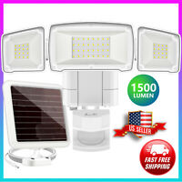 Solar Outdoor Security Light 1600LM LED Motion Sensor 3 Adjustable Heads White