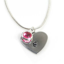 Personalised Heart Shaped Hand Stamped Birthstone Necklace - Free Delivery