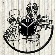 Black Butler Vinyl Record Wall Clock Decor Handmade 6103