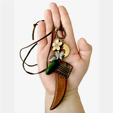 Wood Horn Necklace Brown Faux Leather Boho Flower Charms Beads Pendant Chain