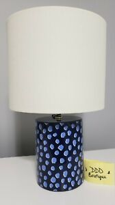 NEW! Kate Spade Dark Blue Ceramic Flamingo Dot Table Desk Table Lamp w/ Shade