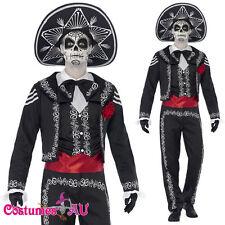 Mens Mexican Day Of The Dead Senor Bones Skull Spanish Costume Halloween + Hat