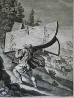 Samson Carrying the Gates of Gaza 1690 Blome antique religious engraving