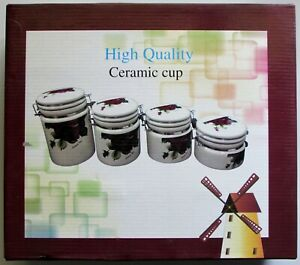 Kitchen Ceramic Canister Latched Lid Jar Set of 4 Daisy Print New in Box