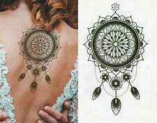Temporary Tattoo Large Black Lace Tribal Dreamcatcher Waterproof Fake Ladies