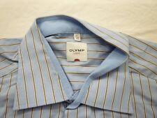 E7822 Olymp Luxor Businesshemd Kombimanschette 43 blau, braun, weiß gestreift