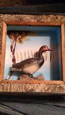 Vtg Painting Art Wood Bark Goose Duck bird rustic scenic home farm old wall deco