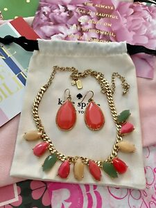 Kate Spade Day Tripper Pink Earrings & Necklace Multi Gold SET Faceted Gem