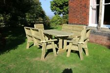 Wooden garden table and chairs bench set solid patio furniture tanalised