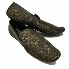 Giorgio Brutini Mens Shoes 12 M Driving Casual Slip On Loafer Brown Gold