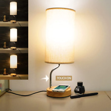 Bedside Table Lamp with Wireless Charger & USB Ports -...