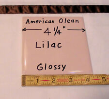 """1 pc. Vintage *Lilac Pink* Glossy Ceramic Tile #36 by American Olean 4-1/4""""  NOS"""
