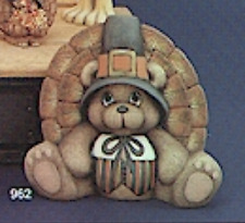 Ceramic Bisque Bear w/ Turkey Tail Fall Thanksgiving ClayMagic962 Ready to Paint