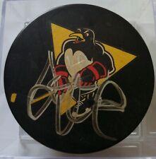 Mark Letesu signed Wilkes Barre Scranton Penguinsofficial hockey puck rare ad*