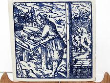 "Delft Holland Tile Blue White Man Stone Brick Mason Construction 6x6"""