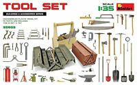 Miniart 35603 - 1/35 Set of tools. Shovel, Ax, Gas Lamp, Oil, Box, Saw, Wrench
