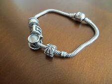 100% Authentic Pandora 925 ALE Sterling Silver Bracelet with 4 Charms pre-owned