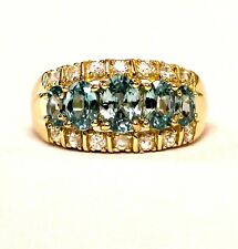 14k yellow gold womens created apatite cz band ring 4.9g ladies estate