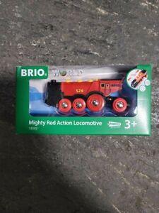 Brio World Wooden Railway Mighty Red Action Powered Locomotive #33592, New