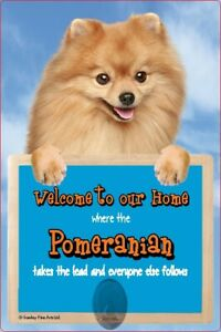 Pomeranian dog lead holder POMERANIANS pom dogs Welcome to our Home sign signs