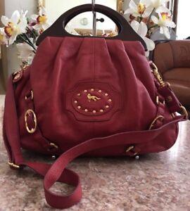 Emma Fox Red Pebble Leather Studded Satchel Shoulder Bag EUC! MSRP $278
