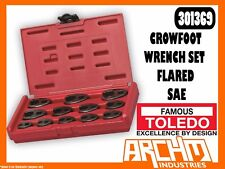 """TOLEDO 301369 - CROWFOOT WRENCH SET FLARED 3/8"""" & 1/2"""" - SAE (5/16"""" - 1"""") 12PC"""
