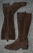 Womens mid heeled dark brown suede knee length boots by Marks and Spencer 6.5