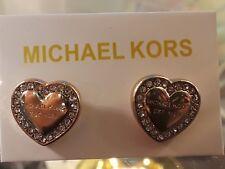 Michael Kors Crystal Heart Stud Earrings~Gold